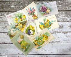 Vintage Easter Postcard Chicks Easter Eggs Spring by GizmoandHooHa $12.50