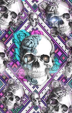 Sugar Skull Wallpaper, Sugar Skull Artwork, Aztec Wallpaper, Trippy Wallpaper, Wallpaper Backgrounds, Iphone Backgrounds, Pink Wallpaper, Screen Wallpaper, Iphone Wallpapers