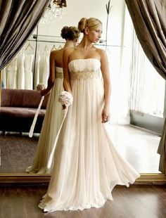 Custom made Plus size  Ivory/Champagne Chiffon wedding bridal Dress Gown Lace-up