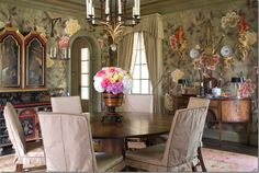 Joseph Minton ; DeGournay hand painted wallcovering. Texas show house