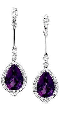 Pearshape dangling Amethyst earrings with Diamonds in 14kt White Gold.  Amethyst jewelry | Dangling Amethyst Earrings - Gemstone Jewelry Image