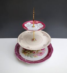 Vintage China 3 Tiered Cupcake Wedding Cake Stand Display Centerpiece. Burgundy, Rose, Pink - Bridal Shower, Baby Shower, Cocktail Party by ReVampSarahTacoma