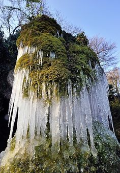A waterfall is frozen on 2/1/12 in Lille, nothern France, as a cold snap is striking France.