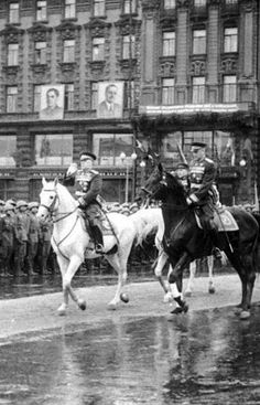 Marshals Georgy Zhukov (on the white horse) and Konstantin Rokossovsky at the Victory Parade on the Red Square in Moscow, Russia, 24 June 1945.