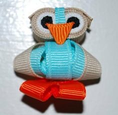 Blue Owl Ribbon Sculpture by BantamBows on Etsy, $8.00