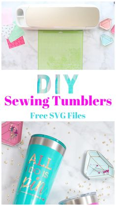 DIY Sewing Tumbler Tutorial with Free SVG File I've felt the need to personalize everything ever since I first got my Cricut machine! So of course, when I came across these tumblers I knew they needed some fun sewing quotes on them. Diy Tumblers, Custom Tumblers, Cricut Craft Room, Cricut Vinyl, Circuit Projects, Vinyl Projects, Cajas Silhouette Cameo, Stencils For Wood Signs, Costura Diy