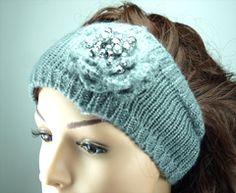 Grey Wool with Silver Thread Knitted Headband