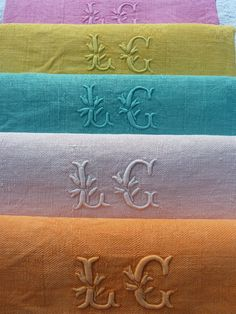 5 ANTIQUE FRENCH RAINBOW COTTON LINEN MONOGRAM LG NAPKINS HAND DYE GAY COLOR WOW