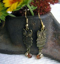 Owl Earrings with Vintage Beads  Fun Gift  Gifts by RusticSpoonful