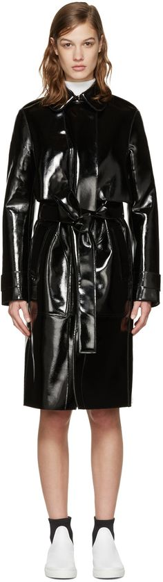 Carven - Black Patent Trench Coat