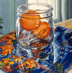 ''Clementines on Autumn Algoma'' 12 x 12'', acrylic on gessoed birch panel, painting #232, 2015  -SOLD