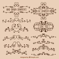desenhadas mão ornamentos amor Vetor grátis