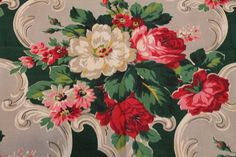 vintage grey barkcloth drapery fabric with red & white roses