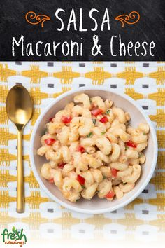 Spice up this cheesy classic with Fresh Cravings Salsa, poblano chile, and pepper jack cheese. The perfect fall comfort food! Chicken And Shrimp Recipes, Pasta Recipes, Crockpot Recipes, Cooking Recipes, Healthy Dinner Recipes, Mexican Food Recipes, Vegetarian Recipes, Macaroni Cheese, Breakfast Lunch Dinner