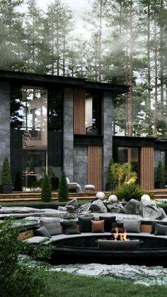 Modern Villa Design, Modern Exterior House Designs, Modern Architecture House, Exterior Design, Architecture Design, Dream House Interior, Luxury Homes Dream Houses, Mansion Interior, Home Room Design