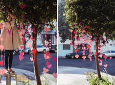 aterial Needed: Construction Paper, Yarn, Tape, scissors    Step 1: Cut out hearts of various shapes and sizes out of construction paper (tip – fold the paper in quarters to cut multiple hearts at once)  Step 2: Cut yarn of various lengths  Step 3: Tape the hearts to the yarn  Step 4: Hang in a low tree    Credits + Contributors:  All photography by Heather Zweig for Oh Happy Day  Art Directed by Jordan Ferney  Produced by Stacy Wichelhaus  Crafting by Caitlin Barker  Assisted by Harper…