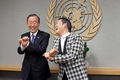 The 24 Most Inspiring Photos of 2012 // South Korean singer Psy, whose real name is Park Jae-sang, visits U.N. Secretary General Ban Ki-moon at the United Nations on October 23, 2012 in New York City.