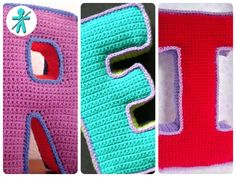 Tutorial to create lettres in Crochet Letters Pattern, Crochet Alphabet, Letter Patterns, Crochet Doll Pattern, Doll Patterns, Crochet Patterns, Crochet Fabric, Crochet Pillow, Crochet Motif
