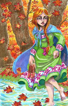 Cowsloveclover- Pinned from my tumblr blog, this is Gerd, Frey's wife, walking home through a maple forest. Gerd is Frey's (or Freyr) Jotunn or giantess wife and the mother of his son, Fjolnir. Done in Letrasets markers.