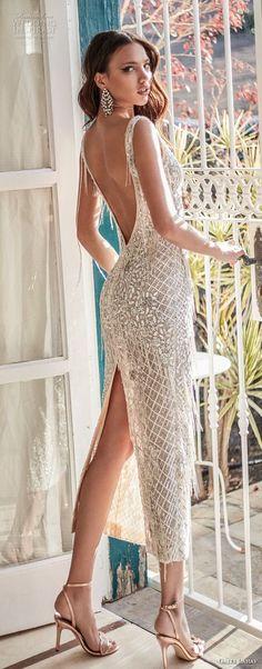 galia lahav couture fall 2018 bridal sleeveless v neck full embellishment elegant short below the knee sheath wedding dress low open back (10) bv -- Galia Lahav Couture Fall 2018 Wedding Dresses