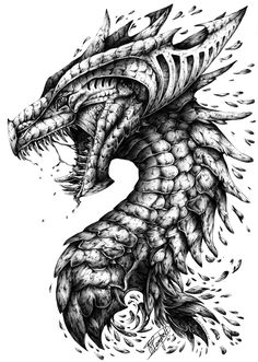 'Dragon's Outrage.' Lamest title this side of the Southern Hemisphere but I just couldn't settle for 'Dragon Portrait v.2' And I know dragons aren't deep and meaningful but they are my guilty pleasure and I won't ever stop drawing them xx Black...