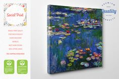 Claude Monet Water Lilies (Nymphéas) canvas print, reproduction FREE SHIPPING fine art gallery print Artwork Giclee home decor famous art