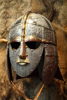 Ceremonial Mask of Sutton Hoo, near Woodbridge, in Suffolk, England - the site of two and early century cemeteries. One contained an undisturbed ship burial including a wealth of Anglo-Saxon artifacts, now held in the British Museum in London. Historical Artifacts, Ancient Artifacts, British Museum, British History, Art History, European History, American History, Vikings, Sutton Hoo