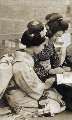 Tomigiku with Kohisa and Others 1920s. Geiko (geisha) Tomigiku (centre right)…