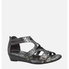 Avenue Sunny Metallic Beaded Sandal ($33) ❤ liked on Polyvore featuring shoes, sandals, black, plus size, zip shoes, metallic shoes, avenue shoes, wide width shoes and zipper sandals