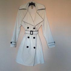 A Vertigo Paris white trench coat for the spring Need a great trench coat? You've got it! White with black details and big buttons. Has the original belt. Gently worn. Make me a good offer! Vertigo Paris Jackets & Coats Trench Coats