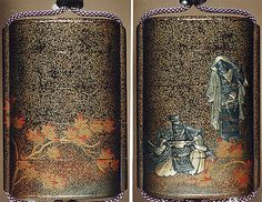 Case (Inrô) with Design of Seated Courtier Drinking Sake and a Young Woman with Maple Leaves  Kajikawa Katsuhira  Artist: Hagiya Katsuhira Period: Edo period (1615–1868) Date: late 18th–19th century Culture: Japan Medium: Nashiji (pear-skin) lacquer decorated with togidashi sprinkled and polished lacquer and metal inlay;