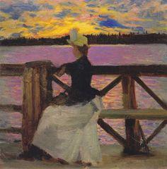 Akseli Gallen-Kallela - Marie Gallén on a Bridge in Kuhmo, 1890