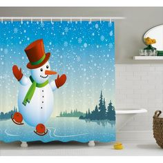 Home - Country Decor Idea Snowman Shower Curtain, Country Bathrooms, Bathroom Sets, Skating, Hooks, Trees, Curtains, River, Cartoon