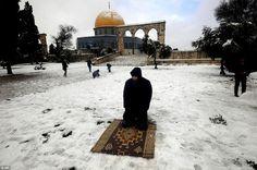 Muslim prayer in the snow Al-Quds, Darussalam, Time to pray. Sunnah Prayers, Wintry Weather, Dome Of The Rock, Religion, Niv Bible, Noble Quran, Muslim Men, Islamic Prayer, Islamic World