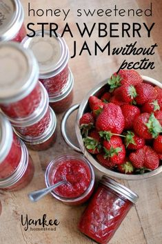 Canning Honey Sweetened Strawberry Jam Without Pectin - Yankee Homestead - Food: Veggie tables Strawberry Freezer Jam, Strawberry Jelly, Strawberry Jam Recipe Without Pectin Low Sugar, Strawberry Jam Recipe With Honey, Chutney, Canned Strawberries, How To Make Jam, Jam And Jelly, Canning Recipes