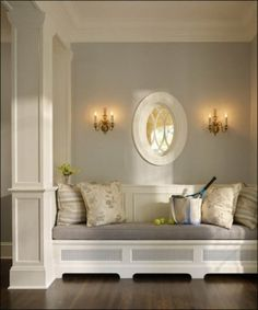 i like - Paneling on the entry wall and under seating area. + baseboards with its hight.