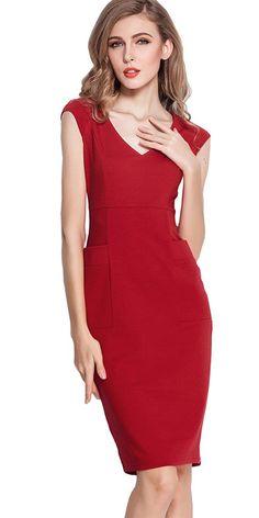 HOMEYEE Women's V neck Pockets Slimming Bodycon Sheath Dress U284 * Unbelievable  item right here! : Women's dresses