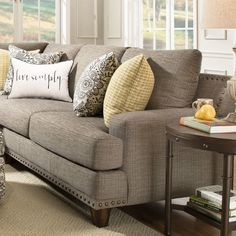 Canora Grey Stockbridge Right Hand Facing Sectional Living Room Sofa, Living Room Decor, Taupe Sofa, Neutral Sofa, Upholstered Sofa, Sofa Design, Sectional Sofa, Home And Living, Living Room Designs
