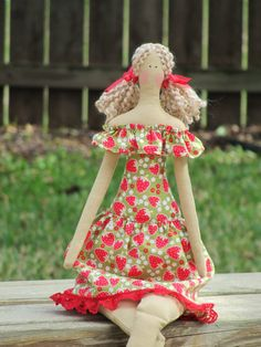 Pretty fabric doll in lovely strawberry dress by HappyDollsByLesya