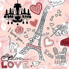 Garabatos de París — Ilustración de stock #34801167