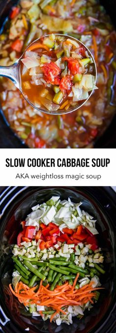 Slow cooker cabbage soup -AKA magic weightloss soup! So easy and delicious!