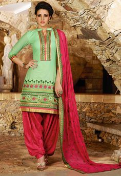 USD 31.68 Mint Green Cotton Embroidery Punjabi Suit 44852