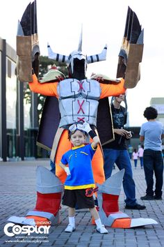 Little Tai & his digivolved Agumon...nice #Digimon #cosplay