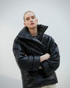 4e9d6e0b567 Nanushka HIDE - black vegan leather puffer jacket Shades Of Black, Puffer  Jackets, Winter