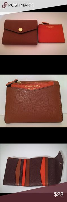 "MICHAEL KORS Brown/Orange Saffiano Leather Wallet 4""x4.5"" Trifold wallet. Back slip pocket holds orange coin pouch. Tri color interior. Michael Kors Bags Wallets"