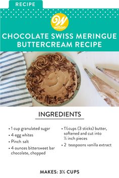 Fun Baking Recipes, Sweets Recipes, Cake Recipes, Cooking Recipes, Cake Frosting Recipe, Frosting Recipes, Delicious Chocolate, Delicious Desserts, Chocolate Swiss Meringue Buttercream