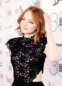 Emma Stone attends the 2015 Film Independent Spirit Awards at Santa Monica Beach in Santa Monica, California (February 21, 2015)