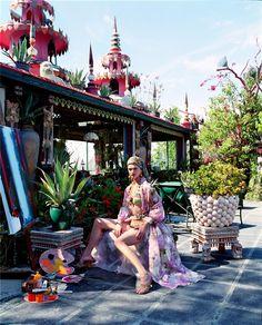 Malgosia Bela,  Steven Meisel, 2000, in the garden of Tony Duquette