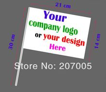 Free Shipping Custom Hand Flag 14 x 21 cm Hand Shaking Flag print buyer's company logo or design election flag 50 pcs/lot(China (Mainland))