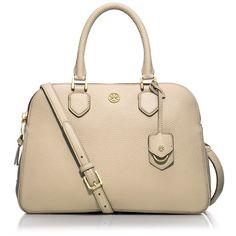 Tory Burch Robinson Pebbled Triple-Zip Satchel Bag ($535) ❤ liked on Polyvore featuring bags, handbags, beige, purses, tory burch, satchel hand bags, zipper purse, satchel handbags, satchel style handbags and beige purse